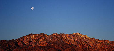 Photograph - Sunrise With Moon Setting On San Jacinto Mountains by Roger Passman