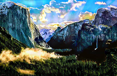 Yosemite Painting - Sunrise Yosemite Valley Nationalpark by Bob and Nadine Johnston