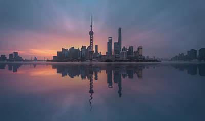 China Wall Art - Photograph - Sunrising Shnaghai by Javier De La