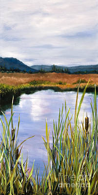 Sunriver Painting - Sunriver Cattails by Bonnie Junell