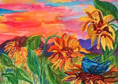 Decorativ Painting - Suns Last Rays by Ellen Levinson