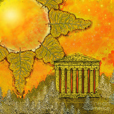 Figurative Digital Art - Suns On The Acropolis by Carol Jacobs