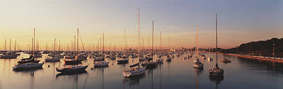 Sunset & Harbor Chicago Il Usa Art Print by Panoramic Images