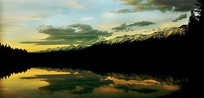 Sunset 1 Rainy Lake Art Print by Janie Johnson