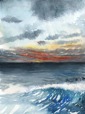 Painting - Sunset 32 Behind La Jolla Cove by Brian Meyer
