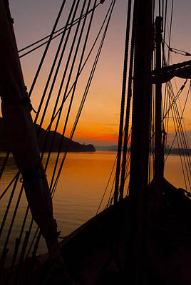 Photograph - Sunset Aboard The Nina by Wayne Stacy