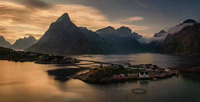 Sunset In Norway Photograph - Sunset Above Sakrisoya Village by Panoramic Images