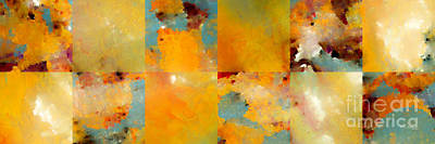 Beige Glass Painting - Sunset Abstract Tiles. Modern Mosaic Tile Art Painting by Mark Lawrence