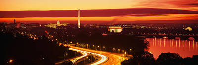 Jefferson Memorial Wall Art - Photograph - Sunset, Aerial, Washington Dc, District by Panoramic Images