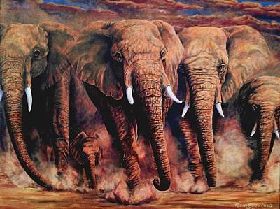 Sunset African Giants Art Print
