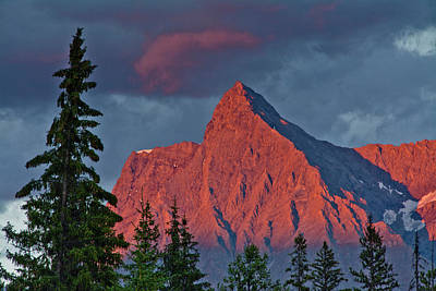 Grey Clouds Photograph - Sunset, Alpenglow, From Kicking Horse by Michel Hersen