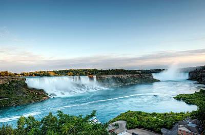Sunset American And Canadian Falls At Niagara  Art Print by Marek Poplawski
