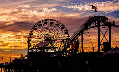 Photograph - Sunset Amusement Park Farris Wheel On The Pier Fine Art Photography Print by Jerry Cowart