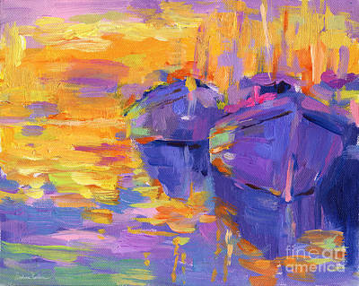 Online Art Gallery Painting - Sunset And Boats by Svetlana Novikova