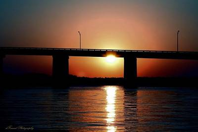 Art Print featuring the photograph Sunset And Bridge by Debra Forand