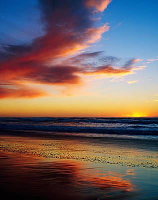 Sunset And Clouds Over Pacific Ocean Art Print