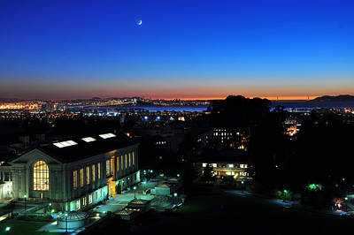 Sunset And Crescent Moon Over Campus Art Print
