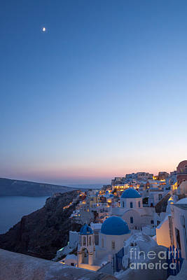 Santorini Photograph - Sunset And Moon Over Oia - Santorini - Greece by Matteo Colombo