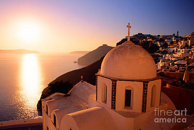 Sunset And Orthodox Church Print by Aiolos Greek Collections