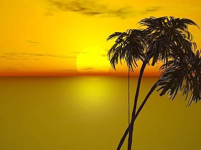 Sunset And Palms Art Print by John Vito Figorito