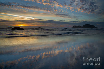 Photograph - Sunset And Reflection On Wet Sand Beach by John Shaw