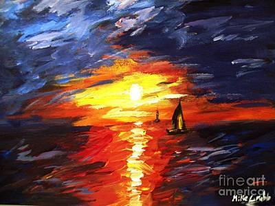 Majestic Seascapes Painting - Sunset And Sails by Michael Grubb