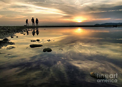 Photograph - Sunset And Silhouettes Reflection by Daliana Pacuraru