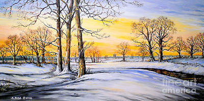 Sunset And Snow Art Print by Andrew Read