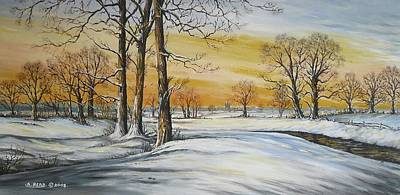 Snow Scene Landscape Painting - Sunset And Snow Sold by Andrew Read