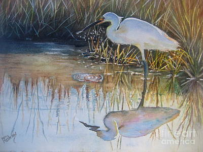 Sunset And Snowy Egret Art Print by Patricia Pushaw