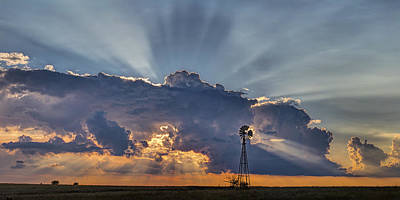 Sunset And Windmill Art Print by Rob Graham