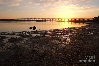 Sunset And Wooden Bridge In Ludo Art Print
