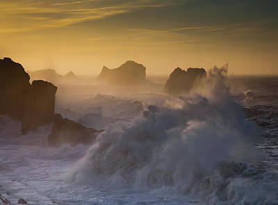 Crashing Photograph - Sunset. Arnia. Cantabria. Spain by Martin Zalba