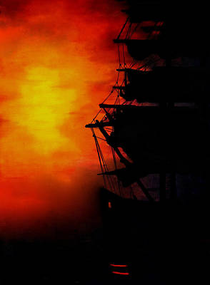 Sailing At Night Painting - Sunset As A Misty Fog Arrives by Joe Lisowski