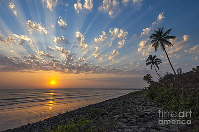 Sunset At Alibag, Alibag, 2007 Art Print by Hitendra SINKAR