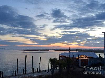 Sunset At American Fish Co       Safe Havens Ivans In Southport Nc Art Print by Shelia Kempf