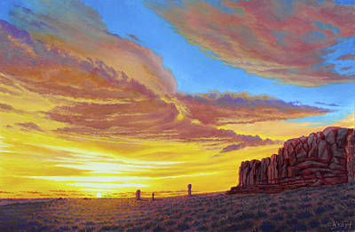 Arches National Park Painting - Sunset At Arches by Paul Krapf