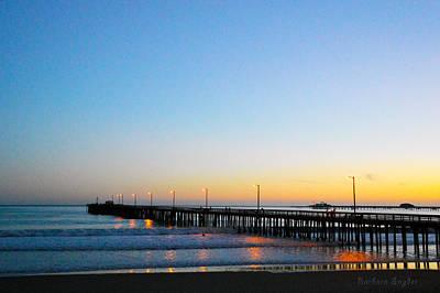 Clear Sky Digital Art - Sunset At Avila Beach Pier by Barbara Snyder