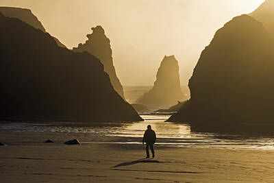 Photograph - Sunset At Bandon Beach Oregon by Inge Riis McDonald