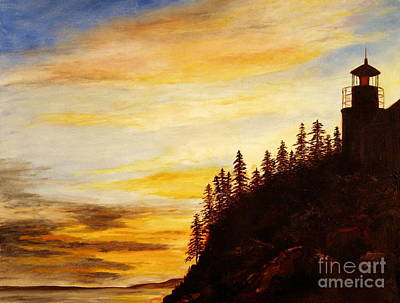 New England Lighthouse Painting - Sunset At Bass Harbor by Lee Piper