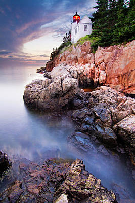 Coastal Maine Photograph - Sunset At Bass Harbor Lighthouse by Mircea Costina