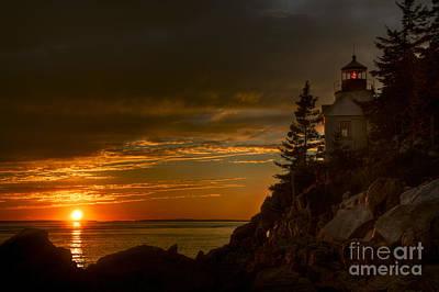 Sunset At Bass Harbor Lighthouse Art Print by Oscar Gutierrez