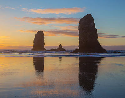 Photograph - Sunset At Cannon Beach by Angie Vogel