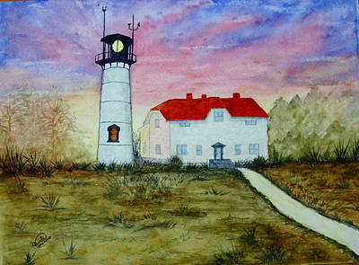 Chatham Lighthouse Painting - Sunset At Chatham Lighthouse - Cape Cod by Ursula Coccomo