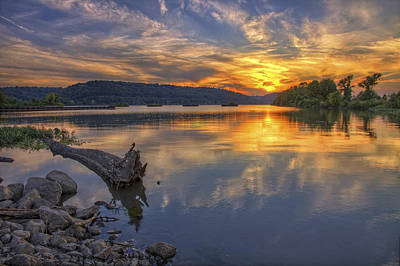 Sunrise Photograph - Sunset At Cook's Landing - Arkansas River by Jason Politte