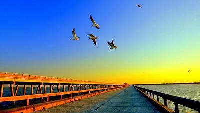 Sunset At Copano Bay Bridge Print by Antonia Citrino