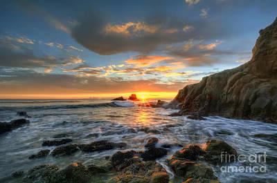 Sunset At Crescent Bay Beach Art Print by Eddie Yerkish