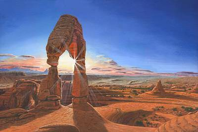 Desert Sunset Painting - Sunset At Delicate Arch Utah by Richard Harpum