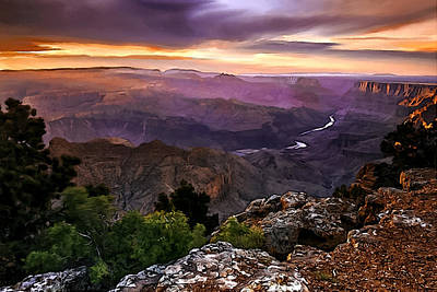 Eco-tourism Painting - Sunset At Desert View by Bob and Nadine Johnston