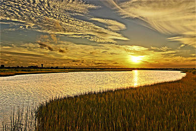 Photograph - Sunset At Galveston Texas State Park by Greg Kluempers